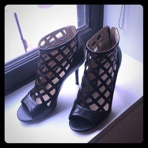 Michael Kors open toe black booties sandals